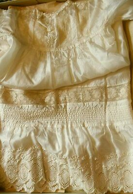 Antique Ivory Silk + Lace Christening Gown - Mint, + Original Box (Optional)
