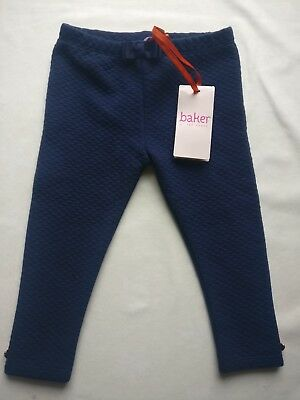 Ted Baker Baby Girls Navy Blue Quilted Soft Leggins 12-18 Months BNWT