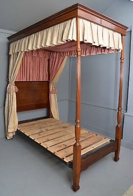 Rare Edwardian Mahogany Single Four-Poster Bed