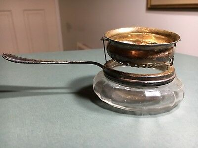 Antique George Webster Co Sterling Silver Tea Strainer Glass Attached Caddie