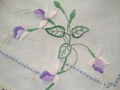 Gorgeous Fuschia Flowers ~ Vintage Hand embroidered Centrepiece