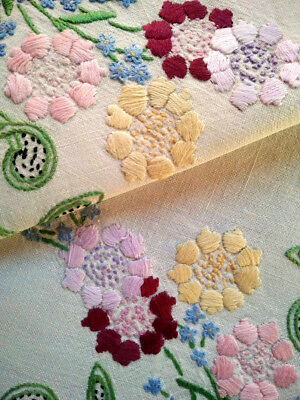 Gorgeous Coloured Cornflowers & forgetmenots ~Vintage Hand Embroidered CentreMat