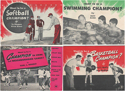 FOUR (4) Vintage 1945 WHEATIES LIBRARY OF SPORTS Publications SOFTBALL & OTHERS