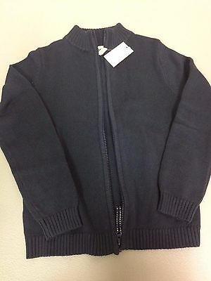 Land's End Kid's Size 7-8 Zip Up Navy Sweater Cardigan