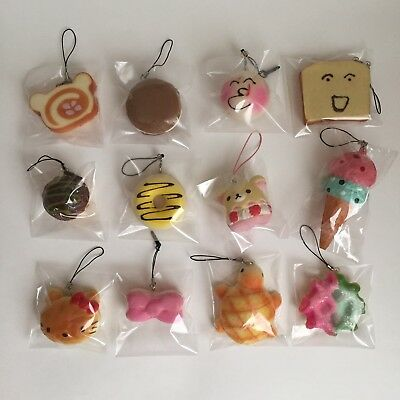 Lot Of 12 Small Assorted Sweets Squishy Keychain Cellphone Accessory Charm Strap