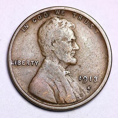 1913-S Lincoln Wheat Cent Penny LOWEST PRICES ON THE BAY!  FREE SHIPPING!