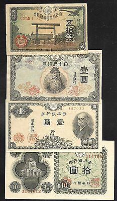 Japan Paper Money - Set/4 Notes - 50 Sen/1 Yen/1 Yen/10 Yen - 1943/1946 - VF/XF