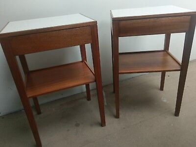 RETRO SOLID TEAK REMPLOY SIDE TABLES WITH DRAWERS 1970s