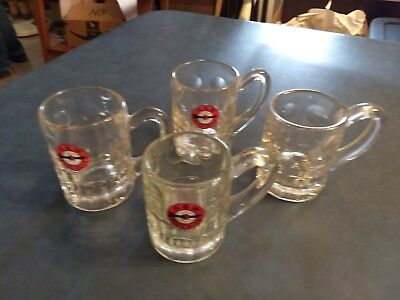 Lot 4 Vintage A&W Root Beer Clear Glass Mugs Steins Unique Handles