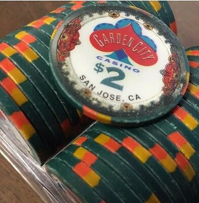 100 $2 Garden City Casino Chips Clay BLUE CHIP COMPANY BCC