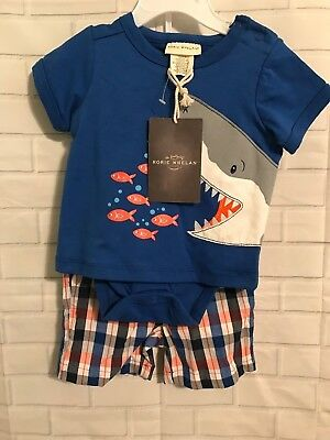 e6a647934 BOYS 0-3 MONTH Rorie Whelan Boutique 2 Piece Embroidered Shark Shirt ...