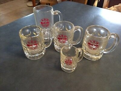Lot 5 Vintage A&W Root Beer Clear Glass Mugs Steins 3 Sizes - Same Logo