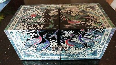 Korean Handmade Jewelry Box Mother of Pearl Lacquered (Najeon Chilgi) 4 Drawers