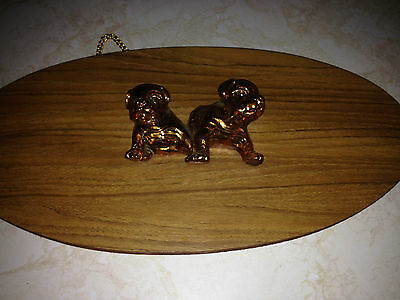 Vintage Oval Wooden Wall Plaque with Copper Color Bulldog Figures