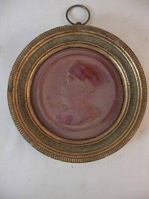 Ben Franklin Medallion in Gold Gilt Wood Frame Stamped NINI French Grand Style