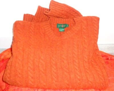 vintage mens j crew XL cable knit fisherman pullover hong kong 100% wool sweater