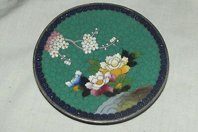 """VINTAGE CHINESE japanese silver cloisonne  PLATE 4 3/4"""" DETAIL marked"""