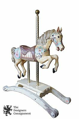 """Antique Pre 1950s Solid Pine Hand Crafted Life Size Carousel Jumper Horse 58"""""""
