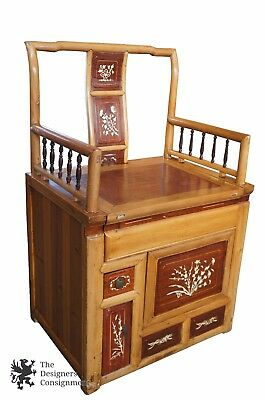 Antique Rosewood Chinese Qing Arm Chair Inlaid Bone Flowers Seat Compartments