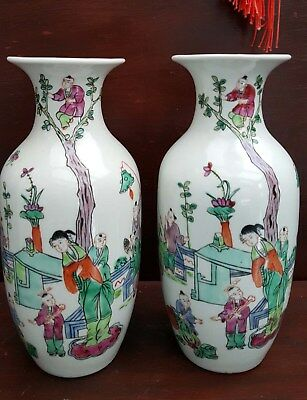 Chinese antique pair of Tongzhi vases marked