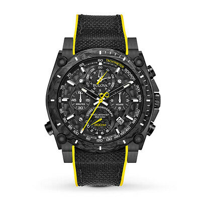 Bulova Men's Black Dial Nylon Strap w/ Yellow Accent Precisionist Watch 98B312