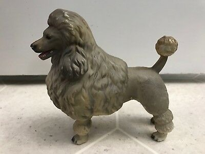 Vintage Hard Plastic Gray French Poodle Dog Made in Hong Kong No. 100