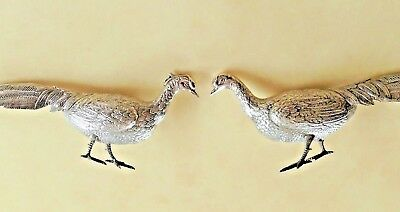 Vintage Wonderful 174 Gr. Sterling Silver Pair Of Birds Pheasants Handmade !