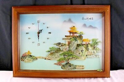 Vintage Chinese 3D Shadow Box Wall Clock with Mother of Pearl Jade Abalone Shell
