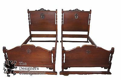 2 William A French Furniture Co Antique Twin Floral Carved Scrolled Walnut Beds