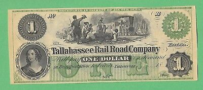 $1 Tallahassee Railroad Co. Florida 1800s - Very close to MINT if not mint