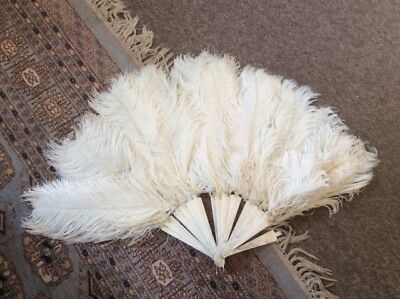 vintage white ostrich feather and mother of pearl fan