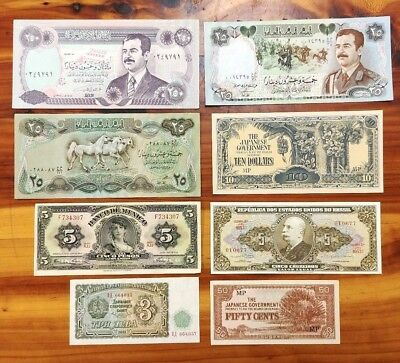 Lot of 8 World Banknotes Unc, Near Unc