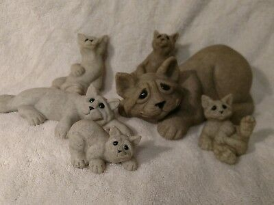 Quarry Critters Cats Miniatures Second Nature Set/6 Resin Figurines