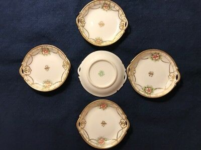 Set of 4 butter pats, Nippon, hand painted