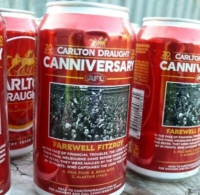 AFL Farewell Fitzroy collector Canniversary Carlton Draught Beer Can - empty