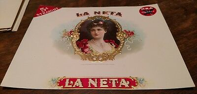 LA NETA NRA MEMBER 1930's INNER Cigar BOX Label Original embossed Spector Bros.