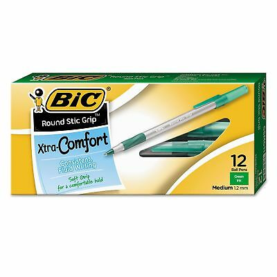 BIC Round Stic Grip Xtra Comfort Ballpoint Pen, Green Ink, 1.2mm, Medium, 12ct.