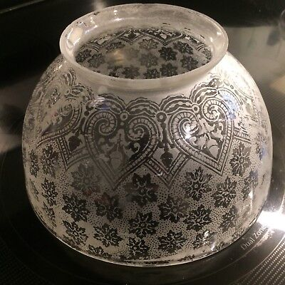 Victorian Etched Glass Gaslight Shade