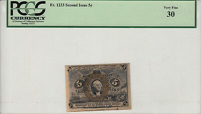 Fr 1233 Second Issue 5 Cent - Pcgs Vf30 (18-0145)
