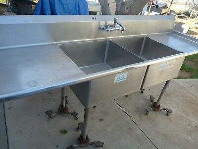 """2 Compartment Stainless Commercial Sink 96""""   NFS"""
