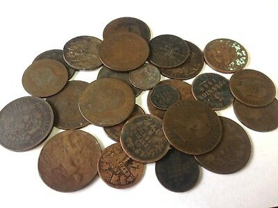 25 x 1800's dates World copper & bronze coins, Fun 1800s Foreign Collector Lot