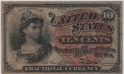 1863 US Fractional Currency TEN CENTS Fourth Year Issue, 1863 10 cents FR1261