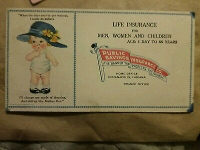 Advertising Card Public Savings Insurance Co. Early 1900's  Antique