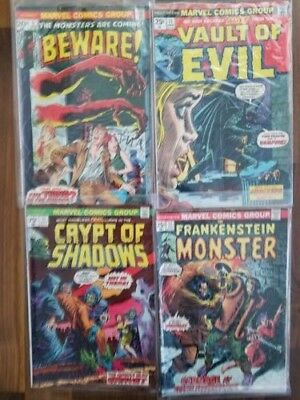 Lot of 7 Marvel Bronze Era Comics, Monsters, Mystery, Vault of Evil VG cond