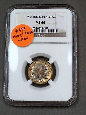 1938-D/D Buffalo Nickel 5C NGC MS66 - Colorful Toning