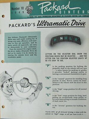 1949 Packard Pointers Sales Bulletin No. 10  FREE SHIPPING !