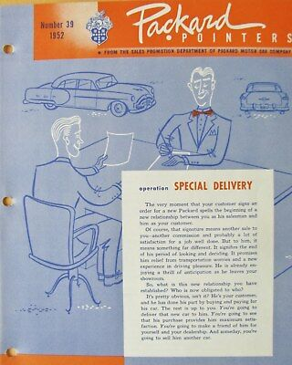 1952 Packard Pointers Sales Bulletin No. 39   FREE SHIPPING !