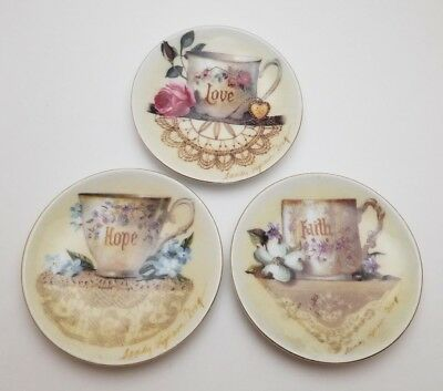 Set of 3 Butter Pats Faith Hope Love HH China Plates