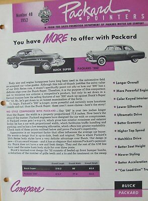 1952 Packard Pointers Sales Bulletin No. 40   FREE SHIPPING !