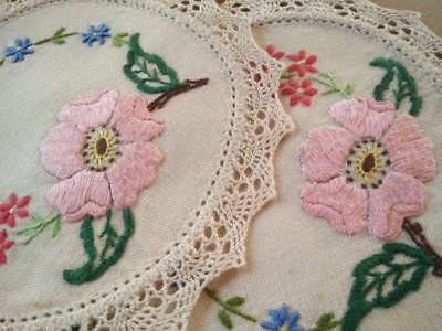 2 x Matching Pretty Pink Rose & Flowers ~ Vintage Hand embroidered doilies